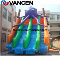 9x6m inflatable toys double slide children's toys new octopus cartoon design bouncer inflatable water slide with free air blower