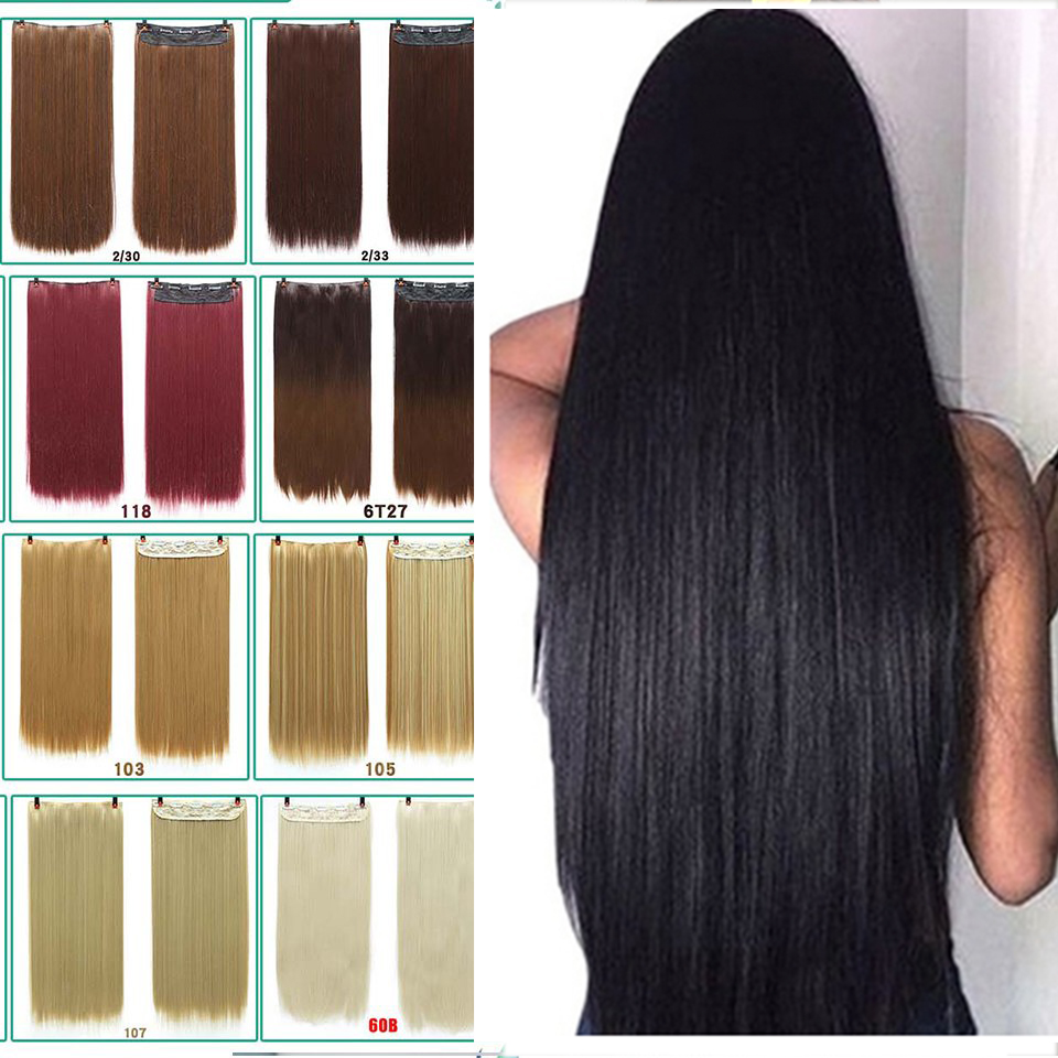DIFEI 24 - Inch Straight Hair Patch Women's High Temperature Fiber Patch Hair Extensions Clip In Hair Extensions