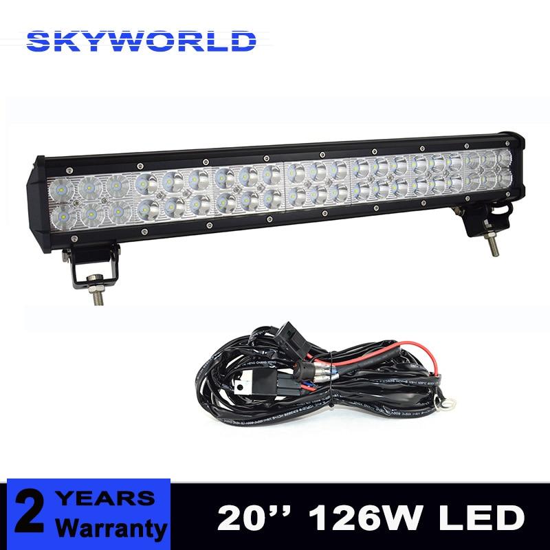 "22/"" 20/'/'inch 126W LED Work Light Bar Offroad Boat ATV Lamp Spot Flood Combo 4WD"