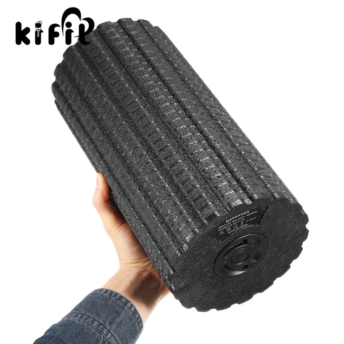 Kifit 1 pcs Fitness Roller Body Slimming Massage Roller Yoga Massage Electric Vibrator Relaxing Foam Roller Massage Electric 30cm 15cm electric vibration eva foam roller floating point fitness massage roller 3 speed adjustable for physical therapy