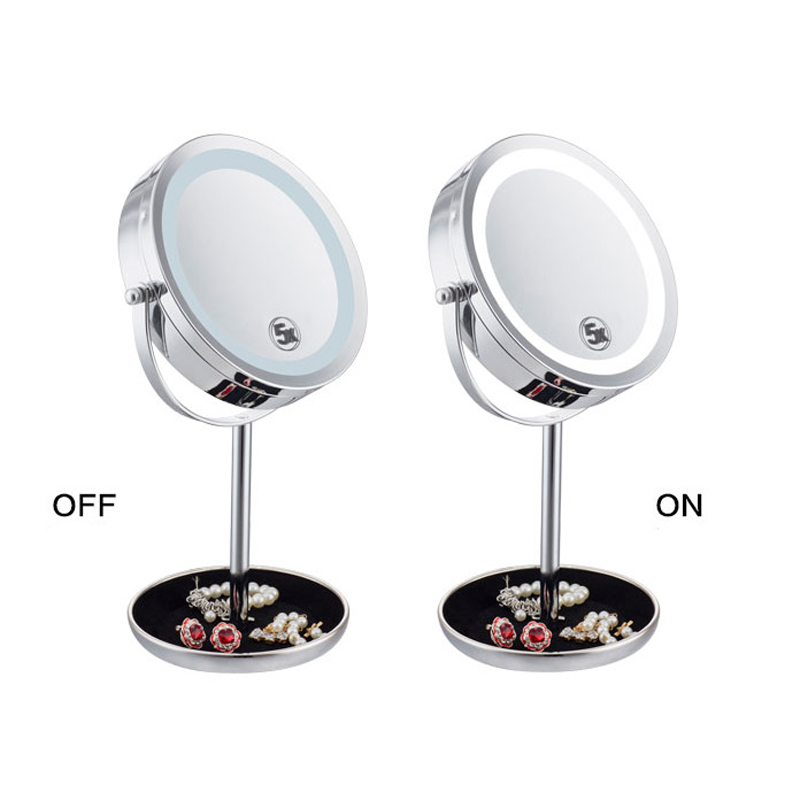5X Or 10X LED Lights Makeup Mirror Desktop Double Side Mirror Magnification New Style 7 Inches Bathroom Cosmetic Mirror alhakin 7 inch led table mirror silver chrome uv finish 10x magnification d710 makeup mirrors cosmetic beauty with ce approved