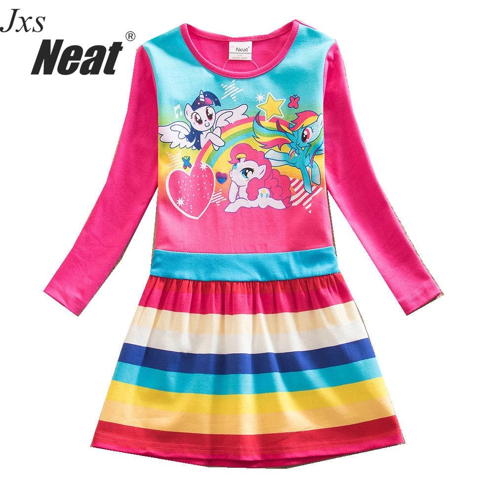 Baby pige NEAT lang ærmer blå kjole mode farve sød tegneserie mønster prinsesse kjole part fødselsdag pige kjole barn LH9113