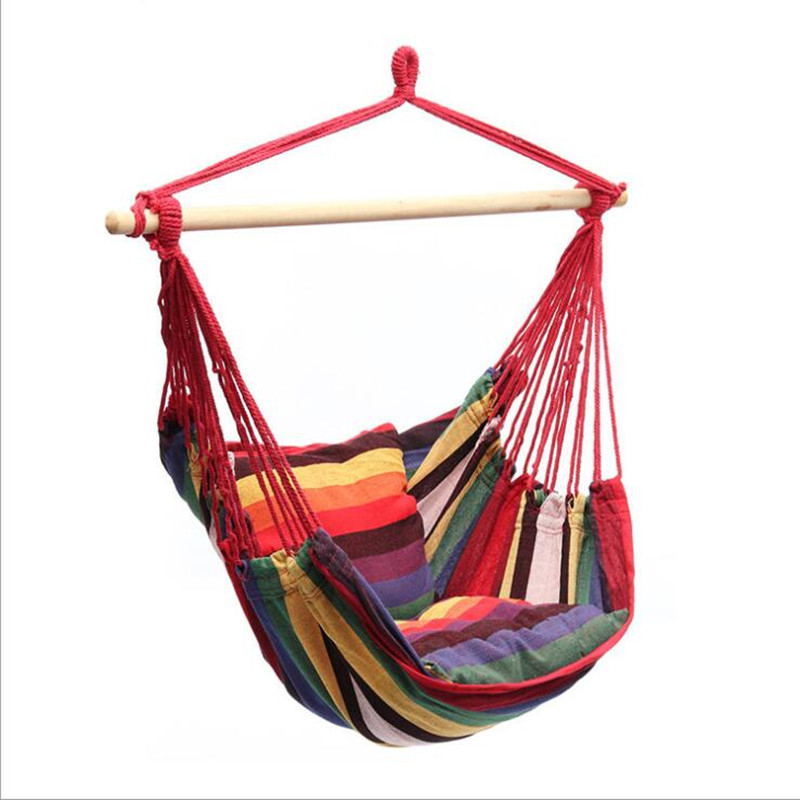 Garden Swinging Hanging Chair Indoor Outdoor Furniture Hammocks Thick Canvas Dormitory Swing give 2 Pillows Hammock Camping modern hammocks outdoor hammock chair
