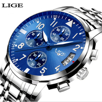 LIGE Mens Watches Top Brand Luxury Fashion Business Casual Quartz Watch Relogio Masculino Men Waterproof Sport
