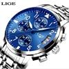 LIGE Mens Watches Top Brand Luxury Fashion Business Casual Quartz Watch Relogio Masculino Men Waterproof Sport