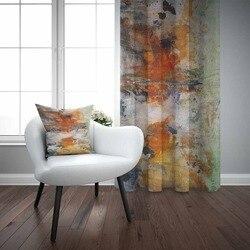 他のオレンジ、緑、青水彩抽象 Nordec 3D 印刷リビングルームの寝室の窓パネルカーテン結合ギフト枕ケース