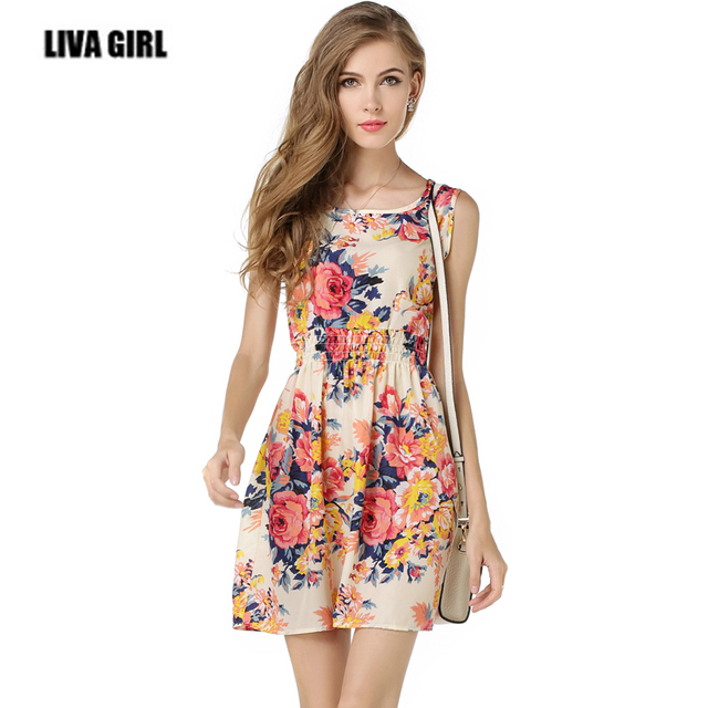 2018 New Women Flower Dress Sleeveless Print Fl Chiffon Slim Fit Summer Wear Female Casual