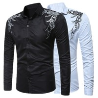2017 New Spring Autumn Features Shirts Men Casual Slim Fit Shirt New Arrival Long Sleeve Dress
