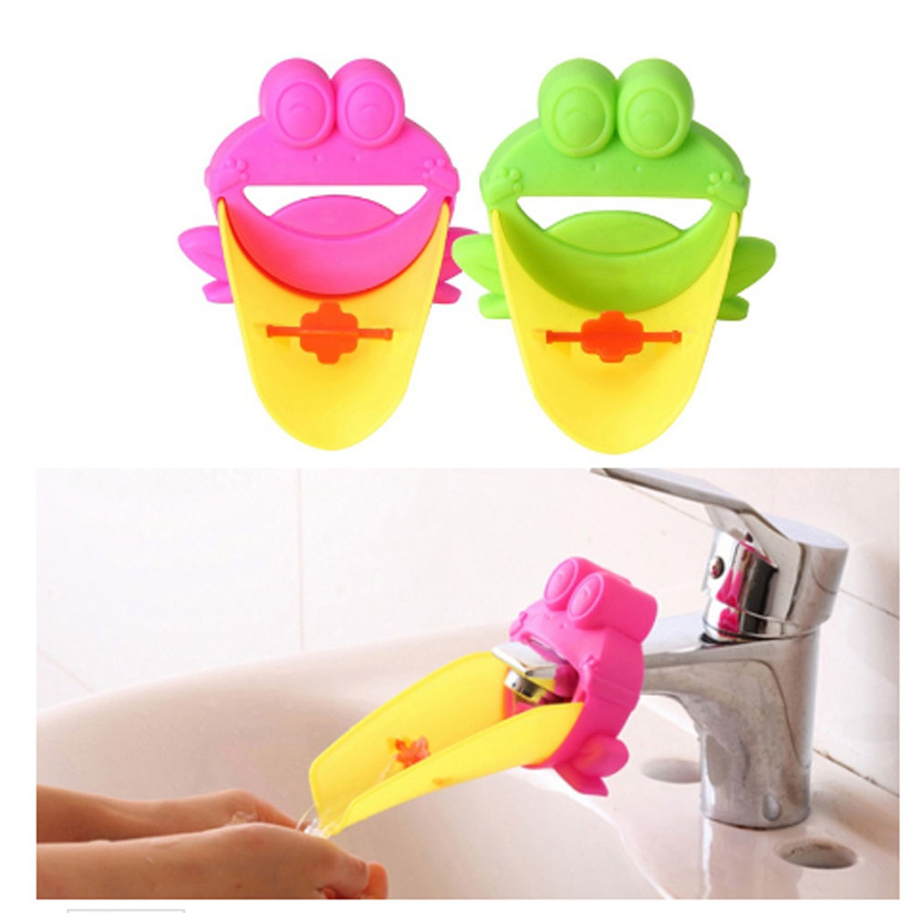 100% QualitäT Neue Heiße Verkauf Netter Frosch Waschbecken Wasserhahn Rutsche Extender Kinder Kinder Waschen Der Hände Bequem Für Baby Waschen Helfer