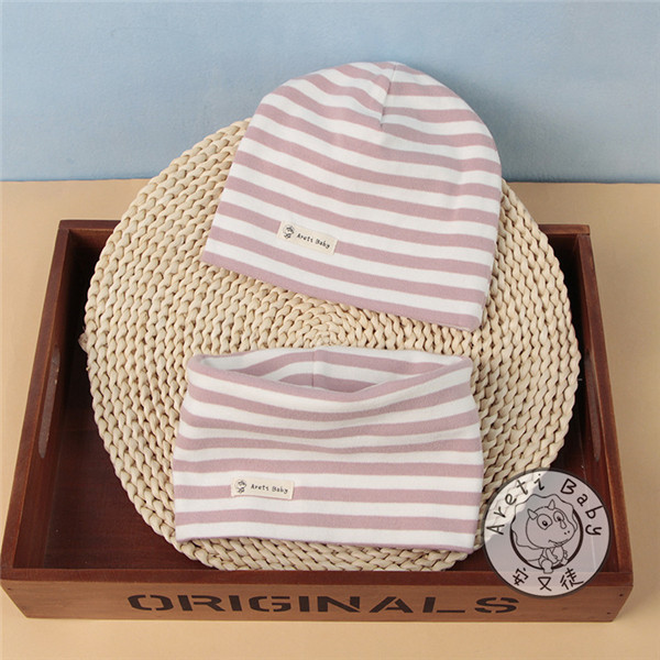 Spring autumn winter plus velvet thick scarf cap two-piece sets baby cotton collar beanies hat children's cartoon warm accessory