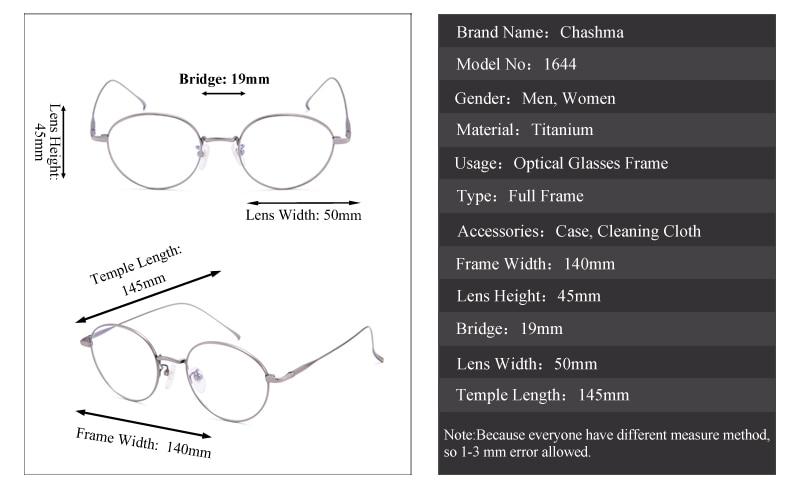 e052bf4c99 Gafas clásicas redondas de titanio Chashma para mujer monturas de Gafas  ópticas Retro Gafas de moda para estudiantes Gafas para Hombre