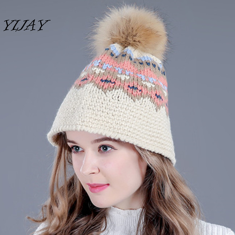 New brand female figured pattern knitted   skullies     beanies   fashion cute fur pom poms hats for girls