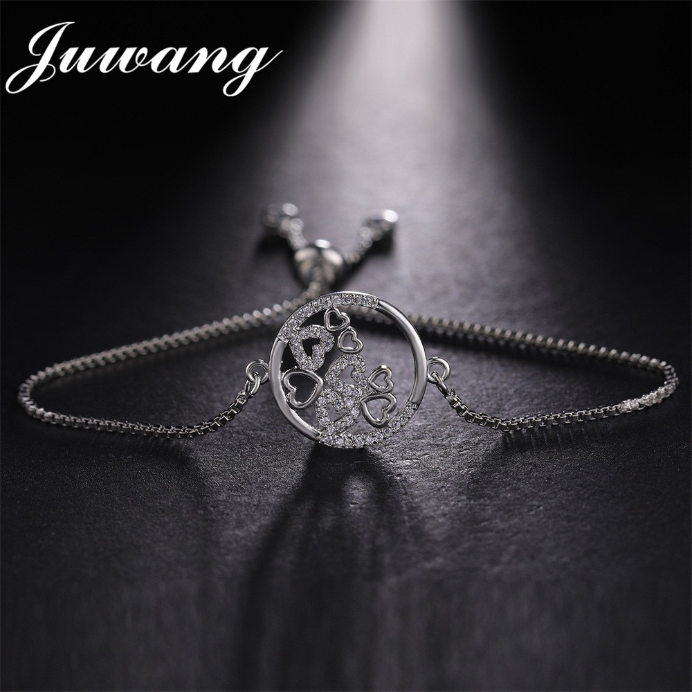 JUWANG Round Circle with Hearts Pendant Charms Femme Bracelet 3 Colors Gold Color Chain Charms Bracelets Jewelry Gift