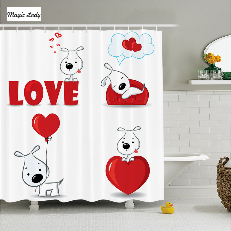 Shower Curtain Bathroom Accessories Love Funny Dogs Hearts Symbols