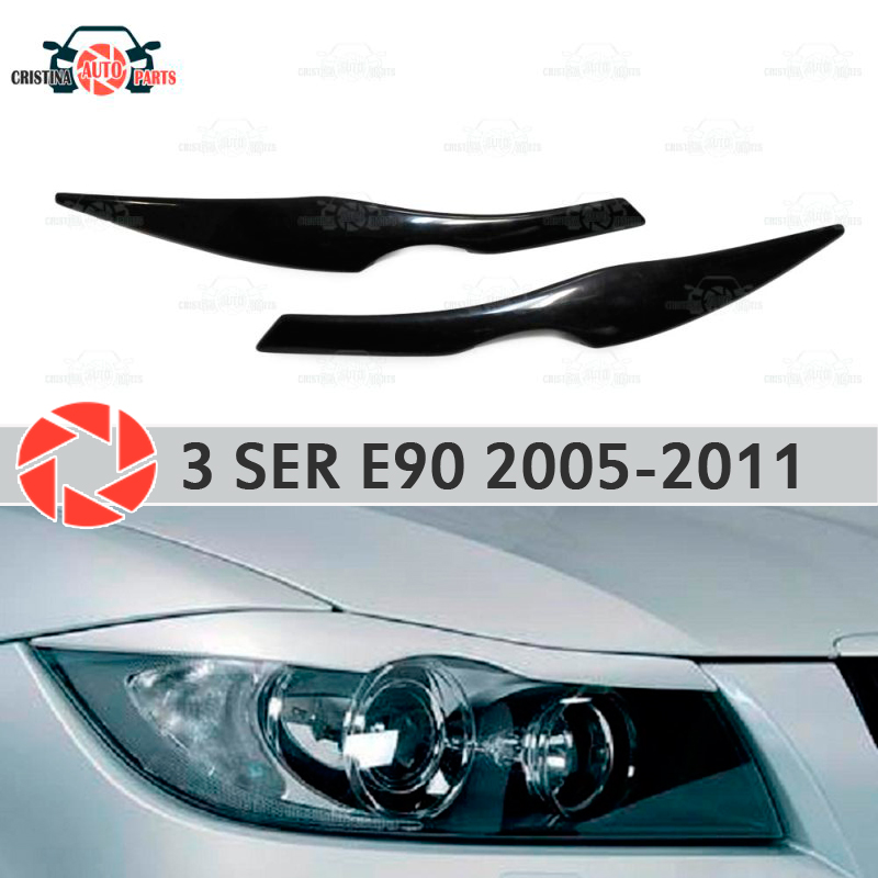 Eyebrows for BMW 3 Series E90 2005-2011 for headlights cilia eyelash plastic ABS moldings decoration trim covers car styling car styling for bmw