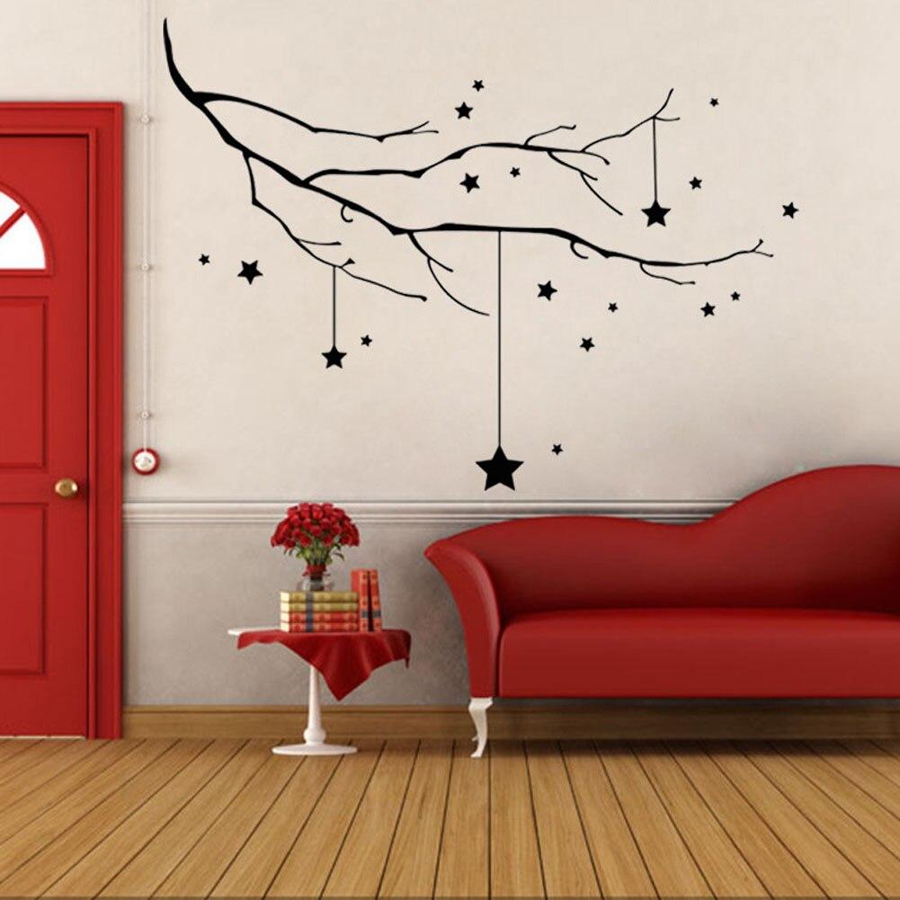 81x56cm Tree Branch Wall Sticker Christmas Star Wall Decals Decorative Sticker Shop Glass Window Sticker Home Decor