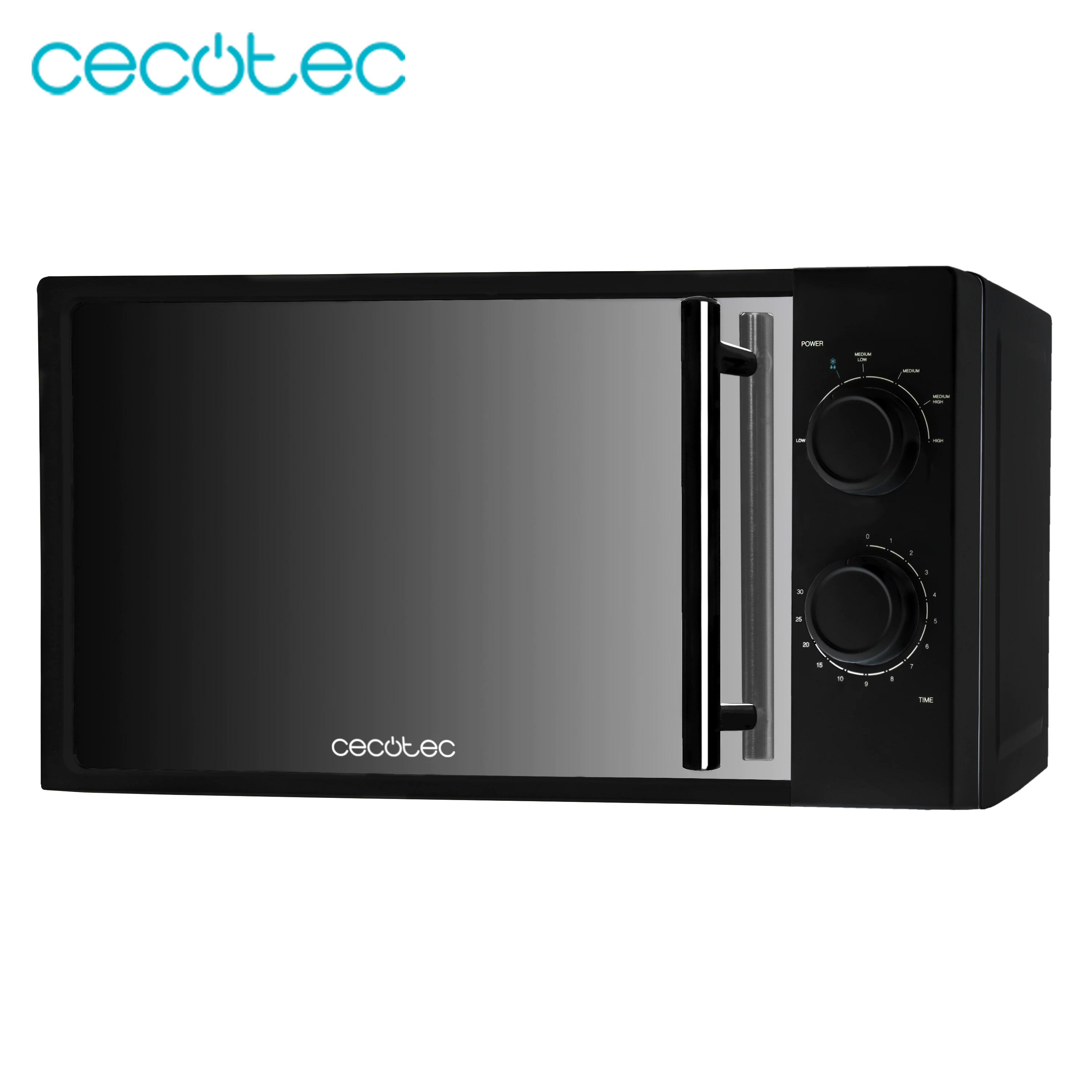Cecotec Microwave All Black Along With The Dark Interior And The Front Of Mirror With 700w Of Power 20l Of Capacity