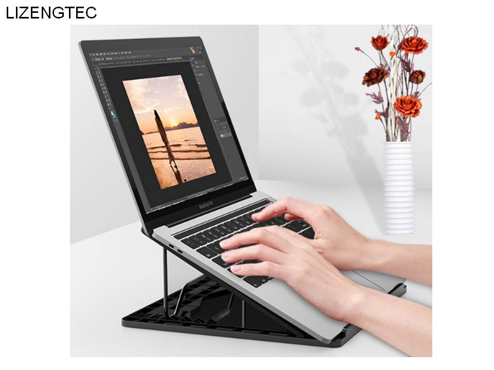 LIZENGTEC Aluminum 6 Heights Adjustable Laptop Stand With Heat Dissipation 12