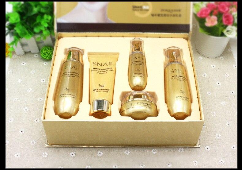 Bioaqua cristalina del oro Caracol el cuidado de la piel de humectante blanqueadora y crema Facial Toner esencia limpiador de leche Facial Corea conjunto