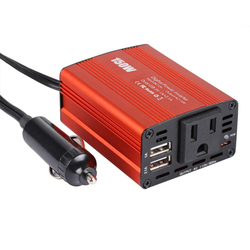 150W Car Inverter US/EU Specifications Inverter Power Converter Booster With Dual USB