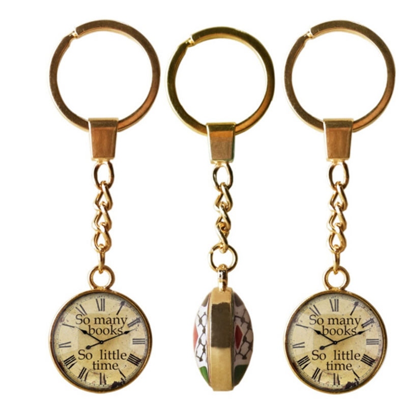 New Design So Many Books So Little Time Key Chains Double Round Glass Time Pendant Keychain Men Women Gifts