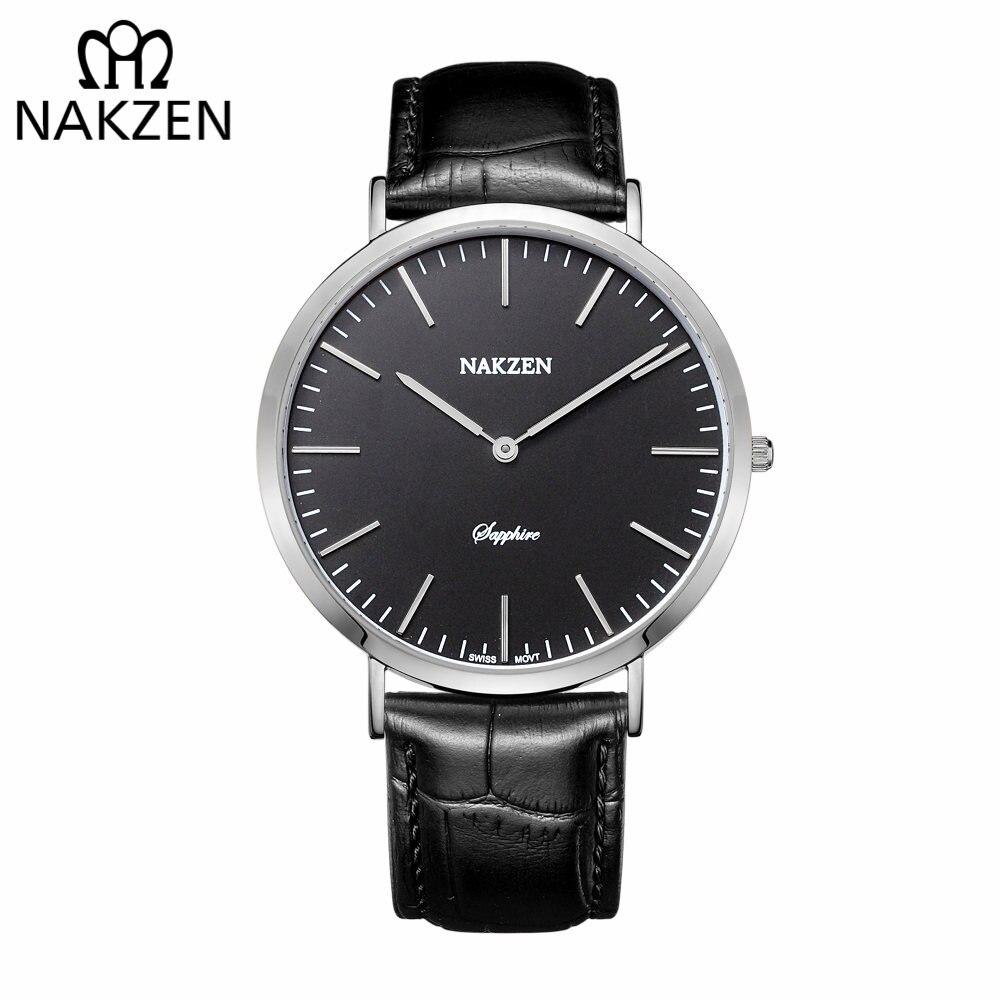 6d06e977522 NAKZEN Homens Relógios Pulseira De Couro Marca de Luxo Safira Quartz  Relógio Masculino Clássico Da Moda