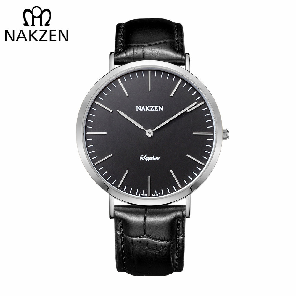 NAKZEN Luxury Brand Men Watches Leather Strap Sapphire Quartz Watch Male Classic Fashion Wristwatch Clock Relogio Masculino nakzen diamond men watch luxury brand sapphire watches mens stainless steel black gold wristwatch male clock relogio masculino