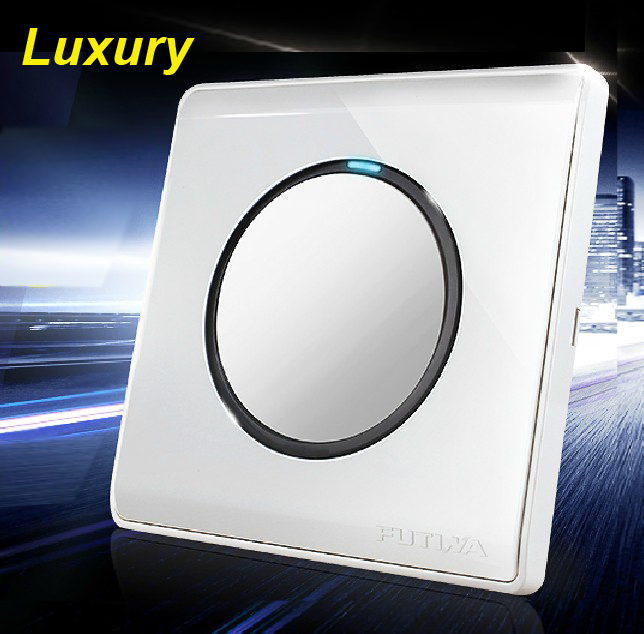 Free Shipping,1 Gang 1 Way, LED Indicator, 110~250V Wall Switch Panel, Luxury Push Button Switch, Pressure Wall Light Switch