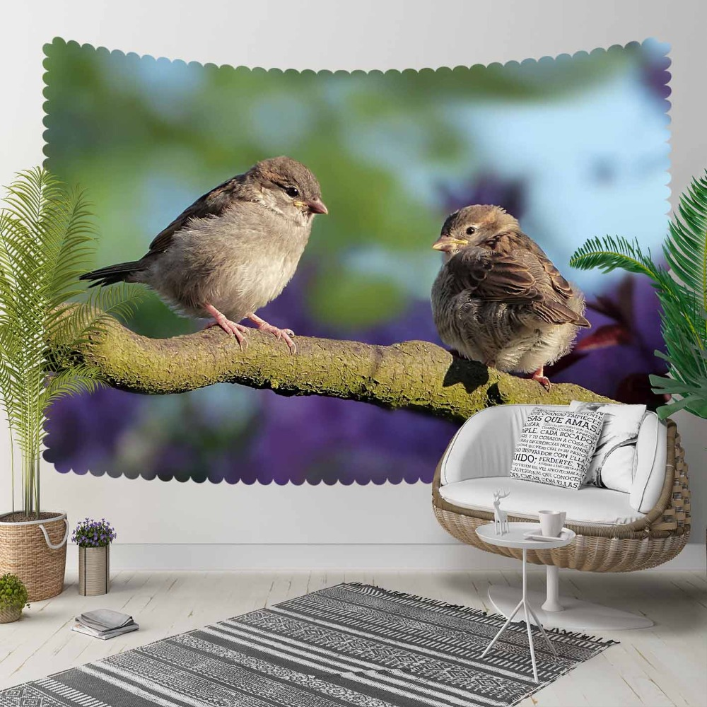 Else Green Tree Branch Cute Sweet Birds Purple Floor 3D Print Decorative Hippi Bohemian Wall Hanging Landscape Tapestry Wall Art