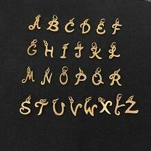 26 unidades/lote de colgante de acero inoxidable con las iniciales del alfabeto, 26 letras doradas, joyería DIY