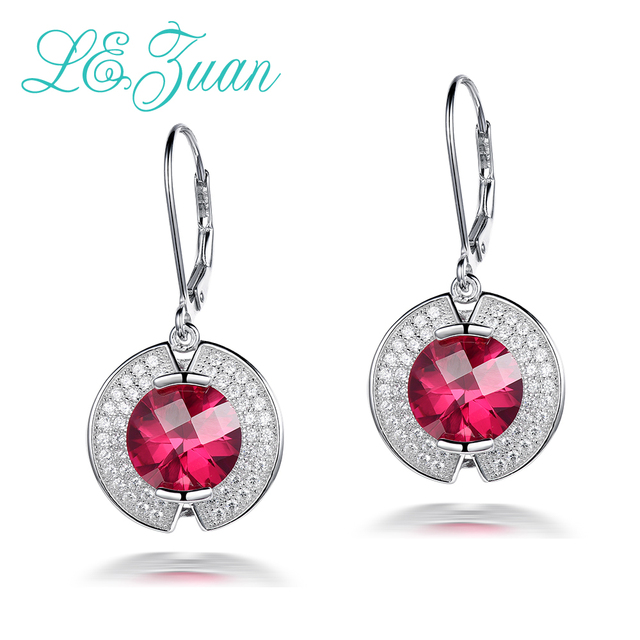 L&zuan 925 Sterling Silver Drop Earrings  For Women 8.23ct Stone Luxury Ruby Jewelry Earring Fine Jewelry Party Brincos E0047