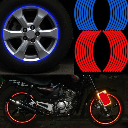 Car Styling 16 Strips Bike Motorcycle Wheel Tire Reflective Rim Stickers And Decals