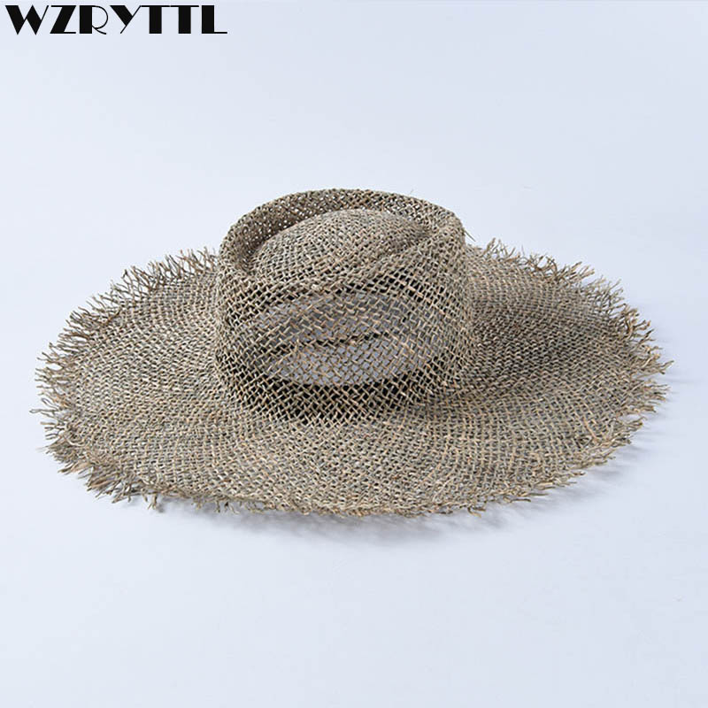 Women Fray Woven Seagrass Boater Hat Casual Sun Beach Hat Cap Wide Brim Summer Hat Unisex Straw Hats For Kentucky Derby Travel