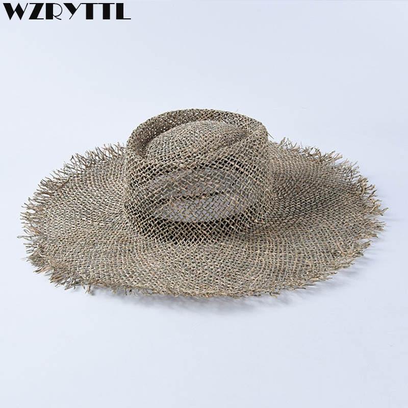 Women Fray Woven Seagrass Boater Hat Casual Sun Beach Hat Cap Wide Brim Summer Hat Unisex Straw Hats Kentucky Derby Travel