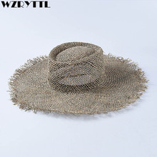 Women Fray Woven Seagrass Boater Hat Casual Sun Beach Cap Wide Brim Summer Unisex Straw Hats for Kentucky Derby Travel