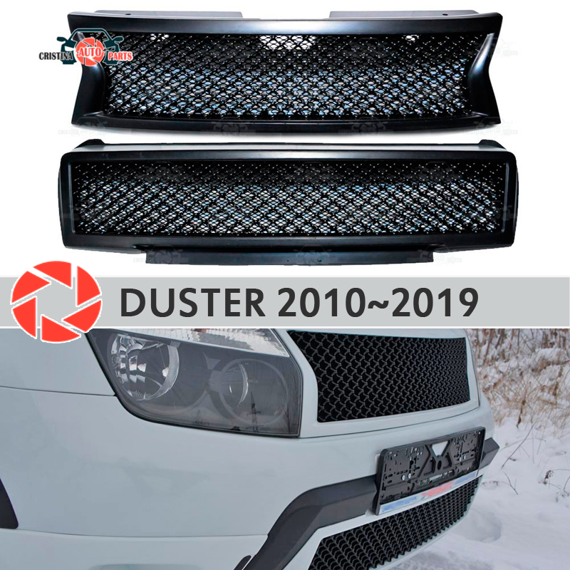 Radiator Grille for Renault Duster 2010-2019 plastic ABS accessories protection car styling front decoration tuning bamper part radiator grille case for honda civic 4d 2006 2008 2010 abs plastic tuning decor design sports styles car styling car accessories