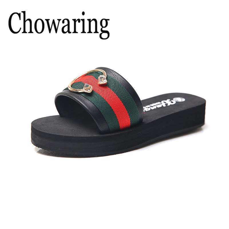Chowaring 2018 New Fashion Red Green stripes Platform Slippers Open Toes Women Rhinestone Wedges Med Heels Slides Shoes Summer
