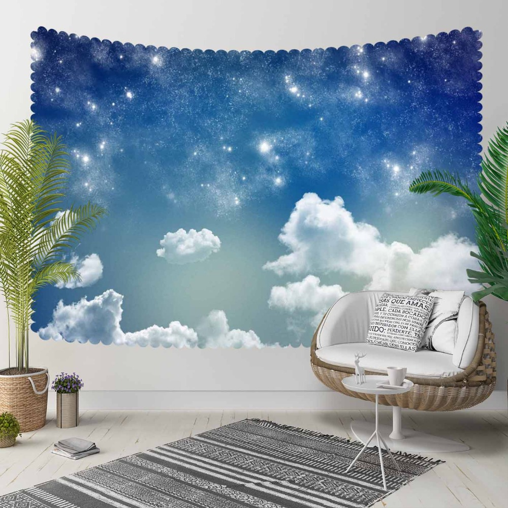 Else Blue Night Sky White Shine Stars Clouds 3D Pattern Print Decorative Hippi Bohemian Wall Hanging Landscape Tapestry Wall Art