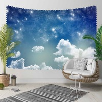 Else Blue Night Sky White Shine Stars Clouds 3D Pattern Print Decorative Hippi Bohemian Wall Hanging Landscape Tapestry Wall Art|Decorative Tapestries| |  -