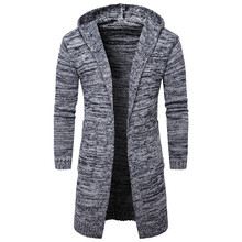 2017 New Men's Hooded Thicken Long Cardigan Autumn Winter Warm Fashion Trendy Cotton Knitted Sweater Christmas Casual Pull Homme