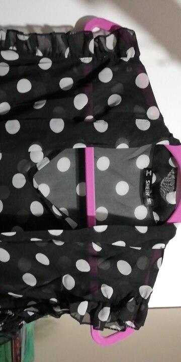 Шеин рюшами связали шеи бантом блуза в горошек Для женщин Стенд воротник рукавов сексуальный топ 2018 лето Sheer Night Out блузка