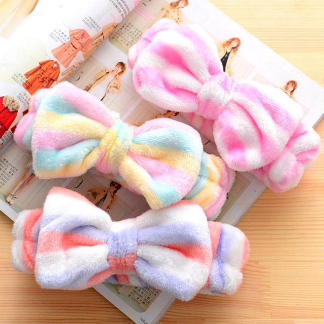 a91c22ce839 1 Pc Sweet Girls Butterfly Knot Flannel Headband Towel Make up Wash Super  Elastic Bands Girls Headwear With 12 Patterns