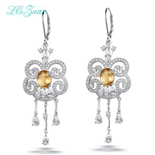 L&zuan 3.36ct Natural Citrine 925 sterling-silver-jewelry Trendy Fine Jewelry Drop Earrings For Women High Quality E0064-W05