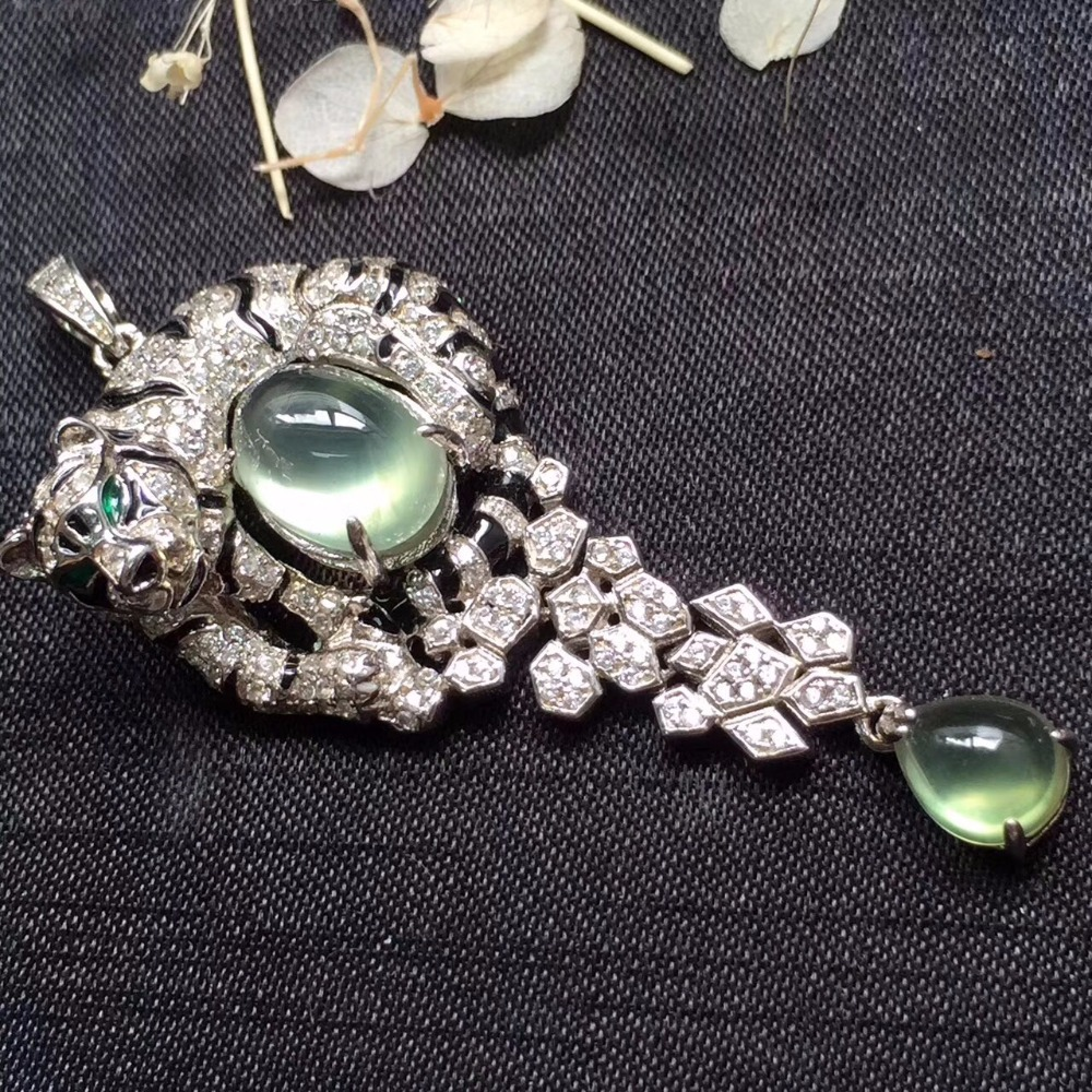 Fine Jewelry Real 925 Steling Silver s925 100% Natural Prehnite Gemstone Leopard Shape Female Pendant Necklaces Christmas Gift fine jewelry real 925 steling silver s925 100