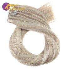 Moresoo 16-24 дюйма, человеческие волосы для наращивания на заколках, бесшовные ПУ волосы на заколках, прямые бразильские волосы Remy, 7 шт., 120 г, комплект на всю голову