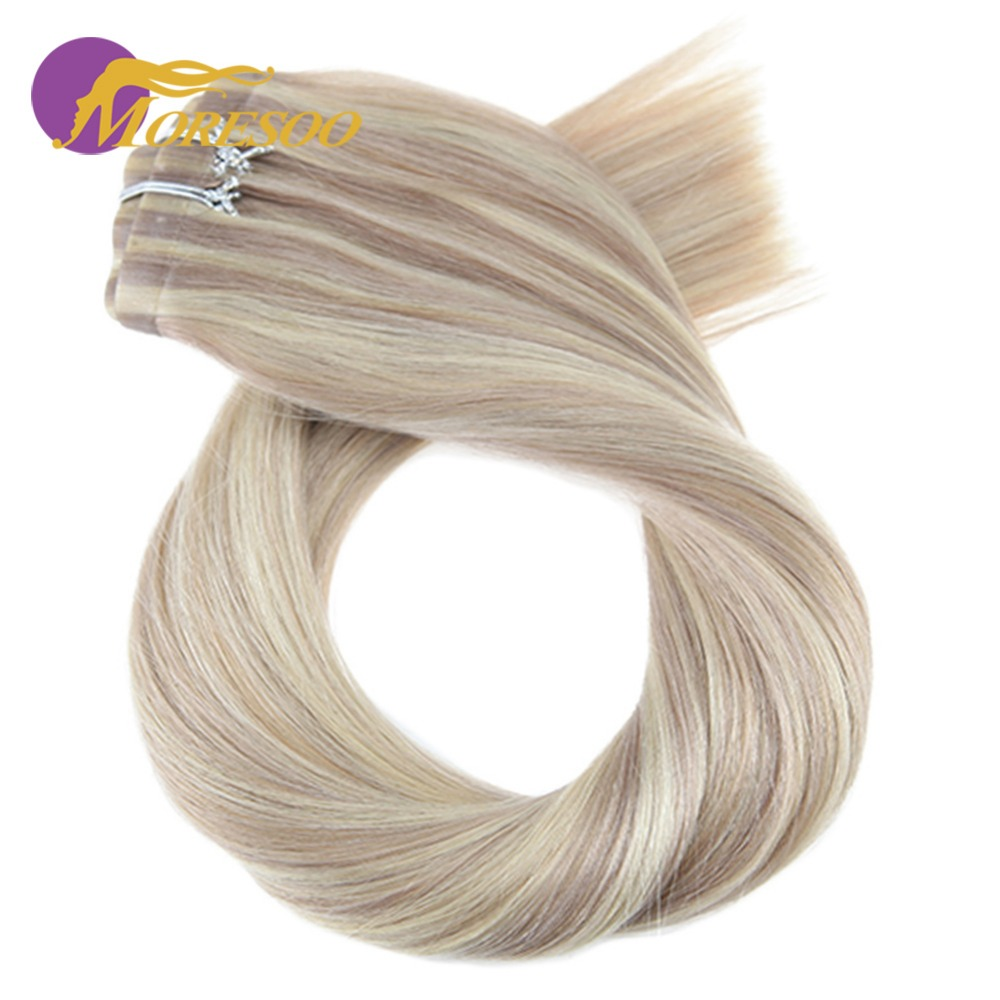 Moresoo 16-24 inch Clip in Human Hair Extensions Seamless PU Clip ins Straight Remy Brazilian Hair 7PCS 120G Full Head Set title=