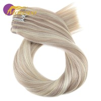 Moresoo 16 24 inch Clip in Human Hair Extensions Seamless PU Clip ins Straight Remy Brazilian Hair 7PCS 120G Full Head Set
