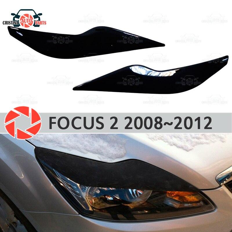 2 sobrancelhas para Ford Focus 2008 ~ 2011 para faróis cílios cílios de plástico molduras decoração guarnição covers estilo do carro