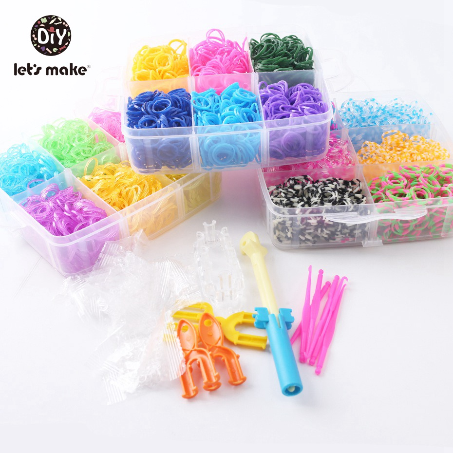 Let's Make High Quality 5400pcs Rubber Loom Band Kit Kids DIY Bracelet Silicone Bands 3 Layer PVC BOX Family Kit Beads Set Toys