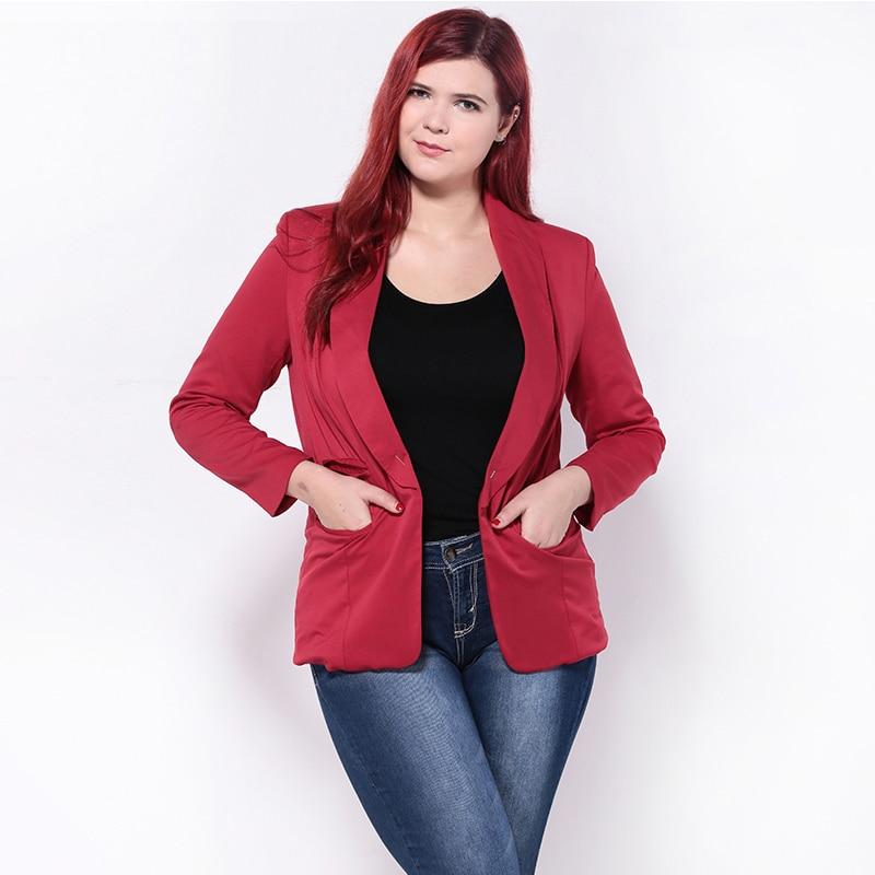 Automne 5xl Femelle Taille Style Vestes Black Mince Femmes Noir Blazer Manches 6xl Plus Poches Blazers Longues red Entaillé Et Bureau Rouge 2018 rxY8wqr